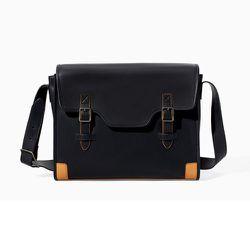 "<strong>Zara</strong> Two-Tone Messenger Bag, <a href=""http://www.zara.com/us/en/man/bags/two-tone-messenger-bag-c358066p1794635.html"">$79.90</a>"