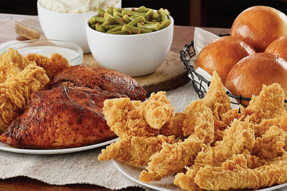 """The Golden Chick """"Spring Sampler,"""" featuring chicken tenders, roast chicken, yeast rolls, green beans and mashed potato."""