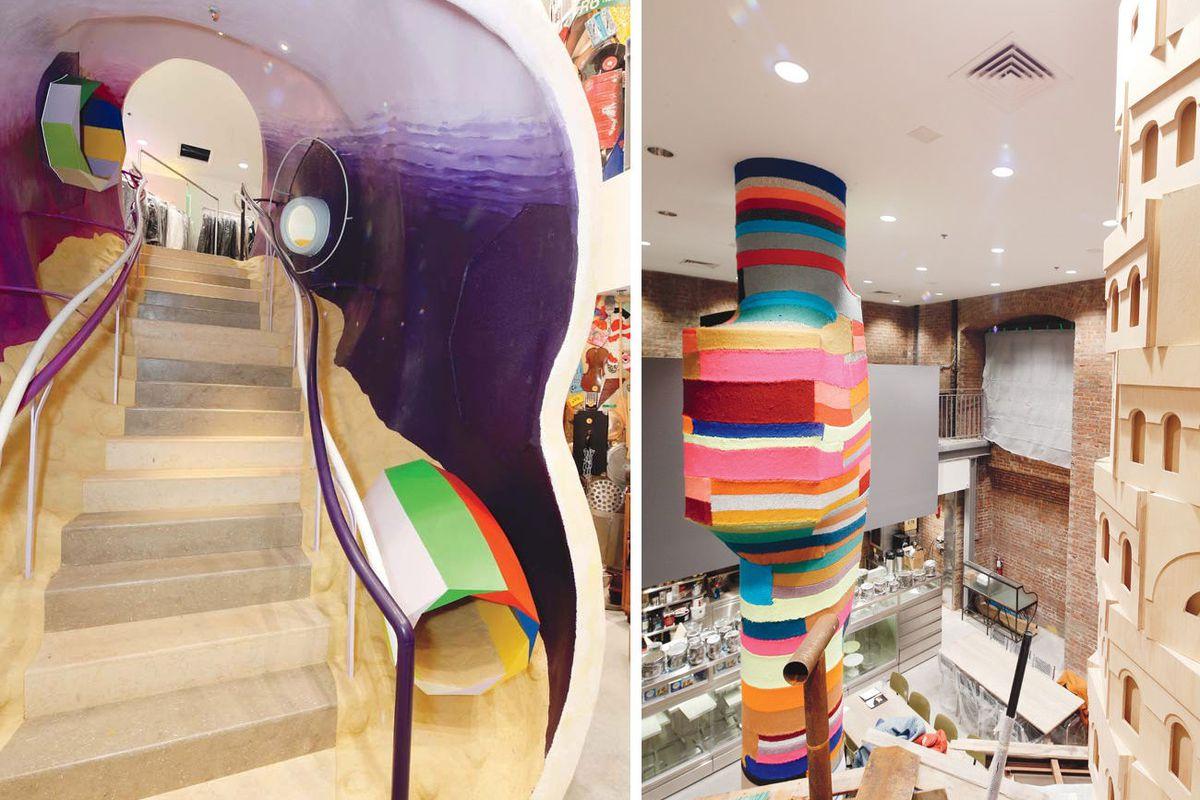"Two views from inside. All photos via <a href=""http://www.wwd.com/retail-news/designer-luxury/oh-comme-all-ye-faithful-rei-kawakubo-takes-new-york-7321692"">WWD</a>"