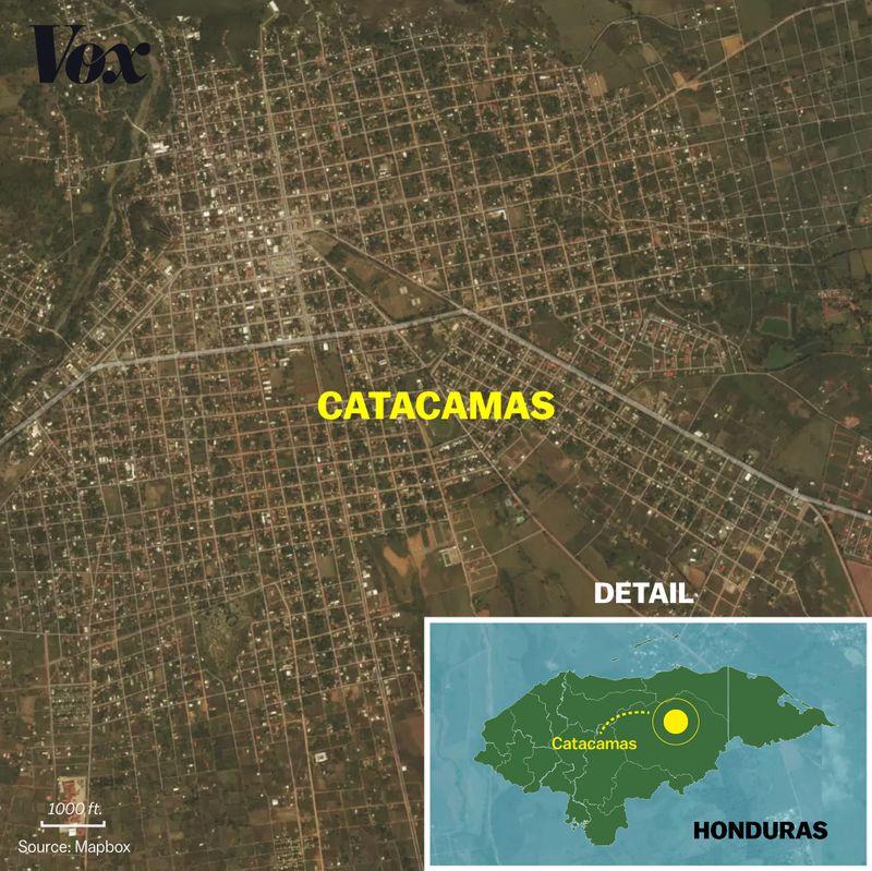 A map of Catacamas, in central Honduras.
