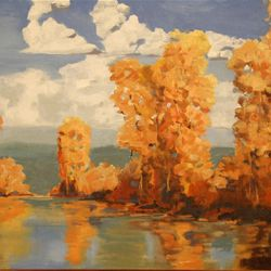 """""""Cottonwoods,"""" by David L. Brand, is on display at Lamplight Art Gallery in Bountiful."""