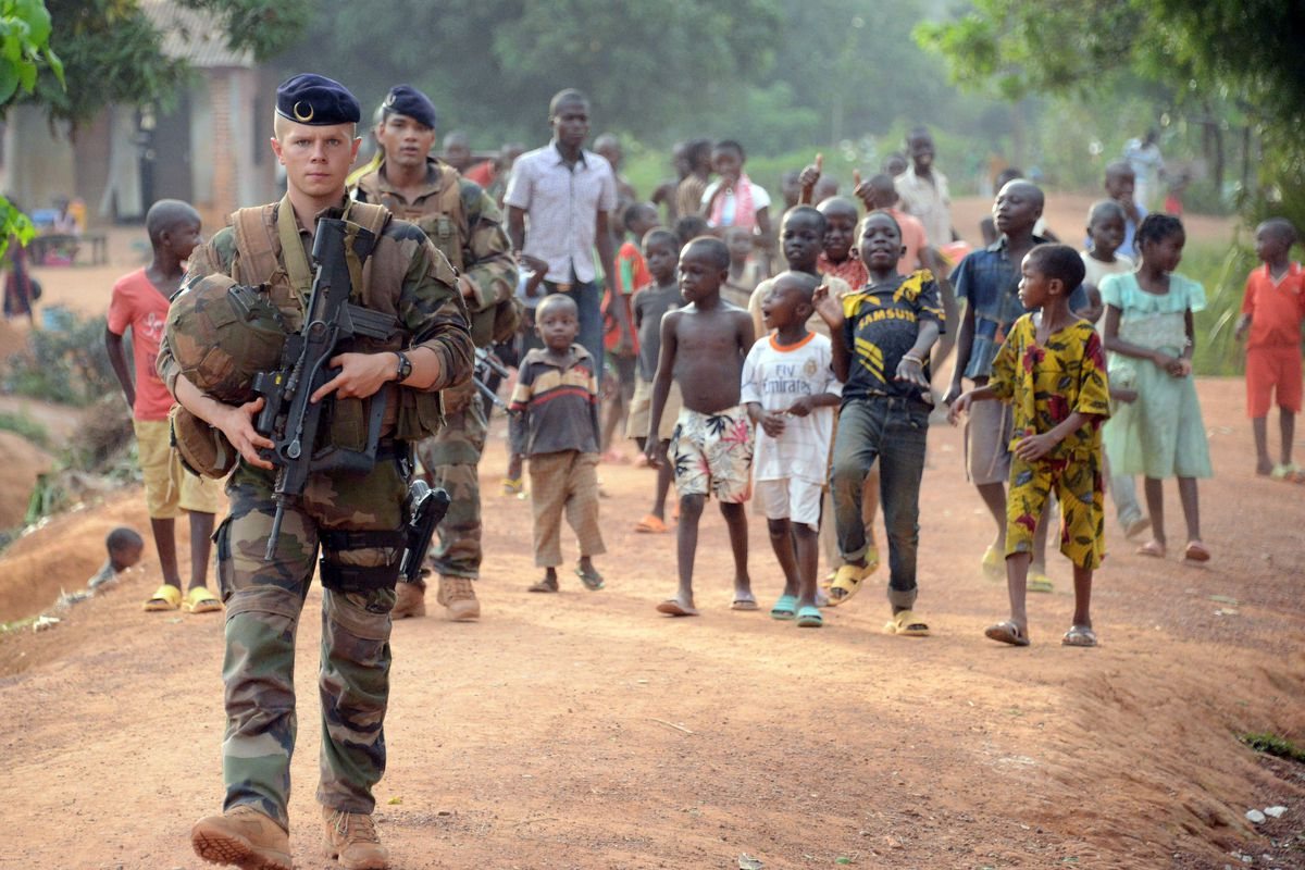 French peacekeepers patrol in Bangui, in the Central African Republic. Members of that peacekeeping force are accused of raping young children who were desperate for food.