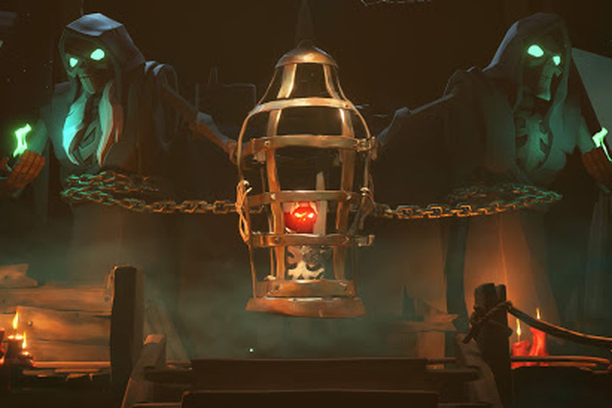 Sea of Thieves - skeleton statues with glowing green lights look over a heart in a cage.