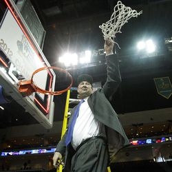 Brigham Young Cougars coach Jeff Judkins celebrates their win  in the West Coast Conference finals in Las Vegas  Monday, March 5, 2012.  BYU won the title and will advance to the NCAA tournament.