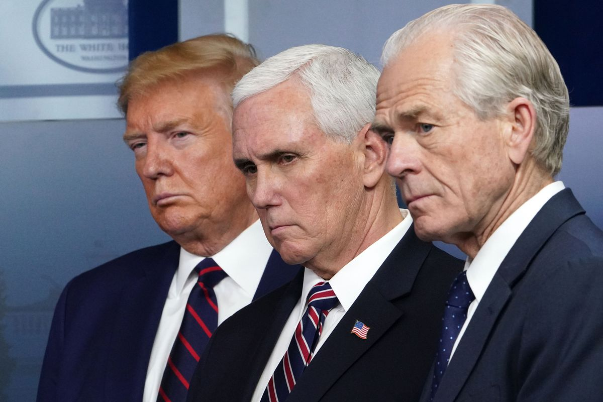 trump, navarro, and another man