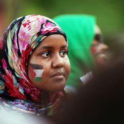 Nima Samatar listens during a pro-Palestine rally in Salt Lake City, Thursday, July 31, 2014.