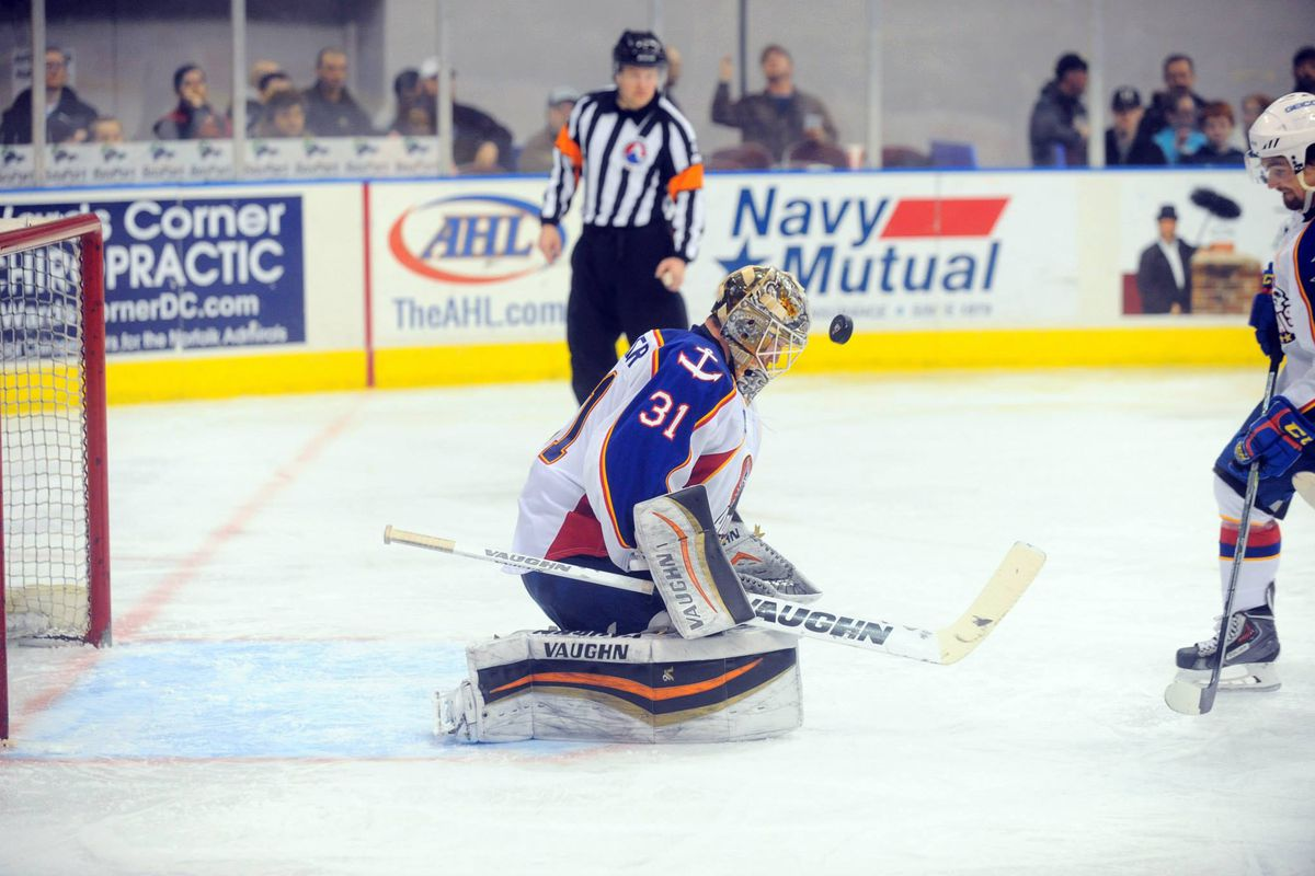 Ryan Faragher with one of 26 saves against the Providence Bruins Friday, Feb 27 2015 at Norfolk Scope