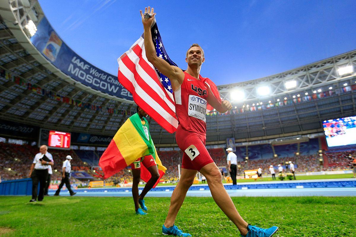 Nick Symmonds celebrates his silver medal.