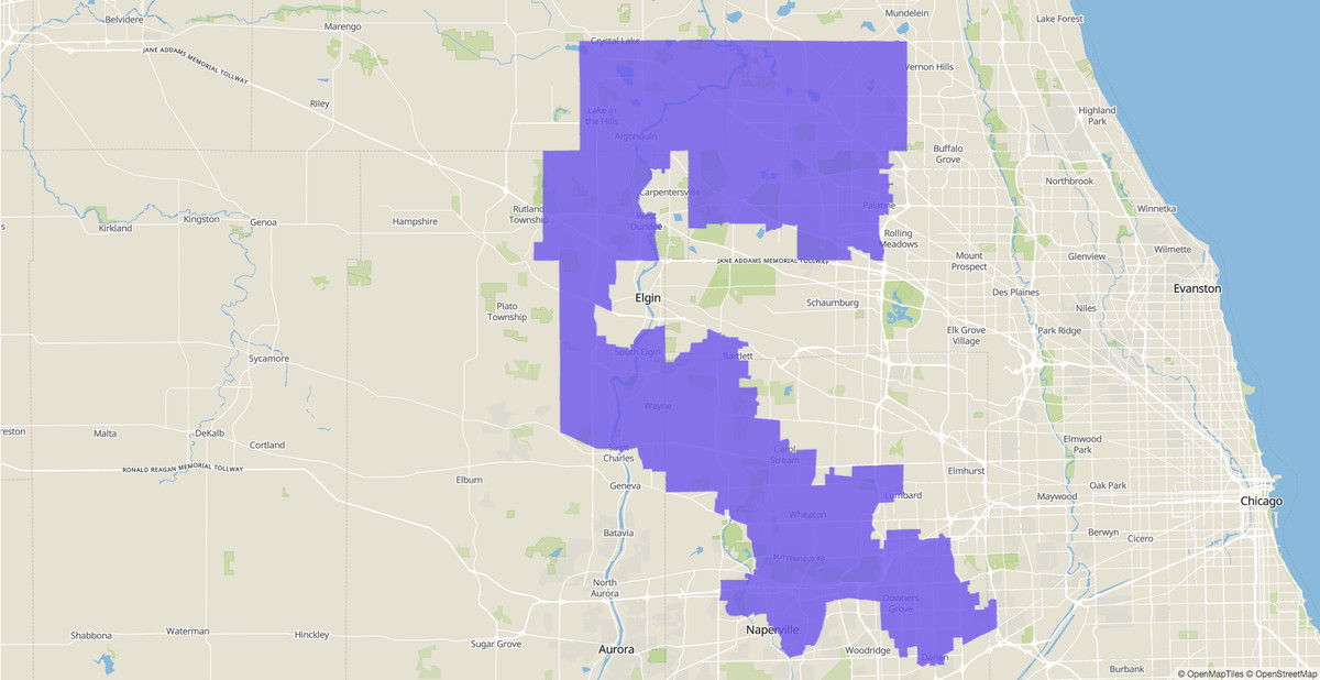 6th Congressional District map, U.S. House, Illinois