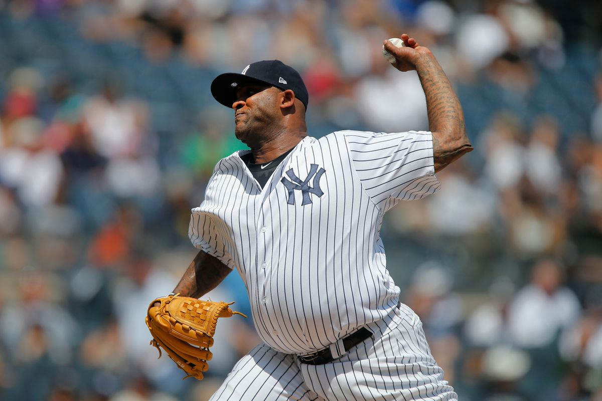 CC Sabathia hurled six scoreless, one-hit innings in the Yankees' 7-2 victory over the Rangers today.