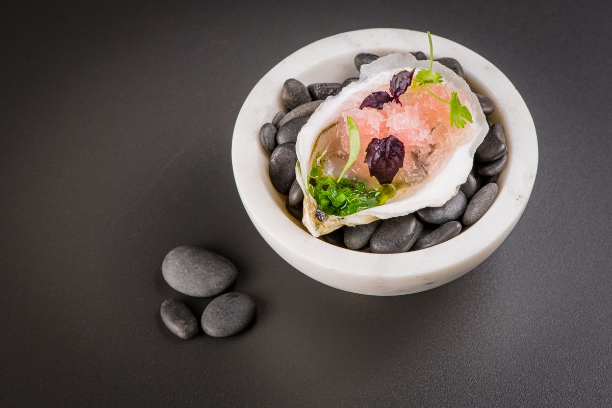 An oyster displayed on a bed of black rocks, and dressed with pink ice and herbs