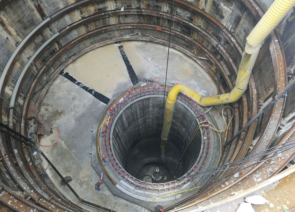 The inlet shaft of the Albany Park Stormwater Diversion Tunnel. The blasting phase was recently completed in the North Side neighborhood.   City of Chicago