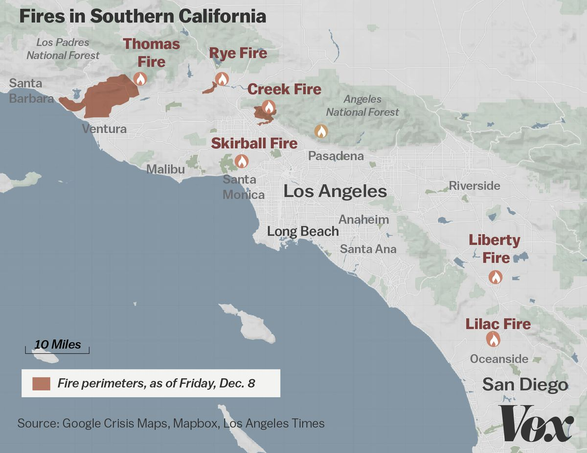 Santa Ana Fire Map.Map Where Southern California S Massive Blazes Are Burning Vox