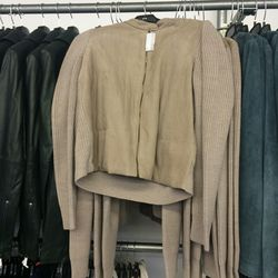 Suede-front cardigan, $195 (was $495)