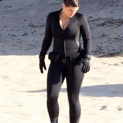 gina carano on the beach via zimbio during filming of