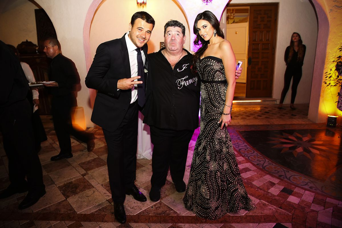 Emin Agalarov (left) and Rob Goldstone (center) attend a New Years Eve And Birthday Party For Irina Agalarova in Maimi Beach, Florida, on December 31, 2014.