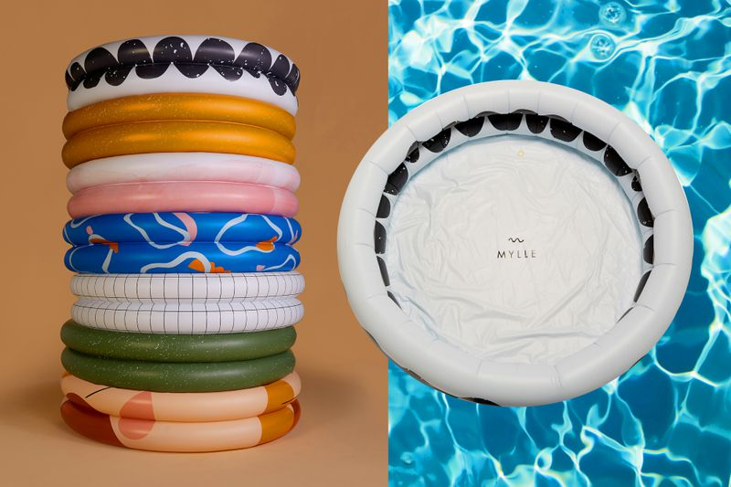 A stack of inflatable pools