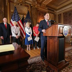 Gov. Gary R. Herbert speaks at a press conference prior to signing SCR9, a resolution the state Legislature unanimously passed earlier this year declaring pornography a public health crisis. The signing was held in the Gold Room at the Capitol in Salt Lake City on Tuesday, April 19, 2016.