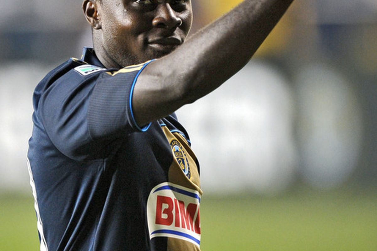 CHESTER, PA- AUGUST 13: Freddy Adu #11 of the Philadelphia Union gives a thumbs up to the crowd after the game against FC Dallas at PPL Park on August 13, 2011 in Chester, Pennsylvania. The game ended 2-2. (Photo by Drew Hallowell/Getty Images)