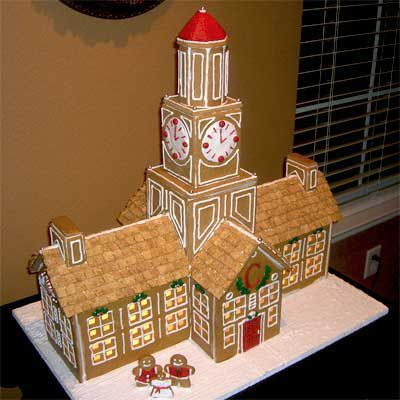 Gingerbread hall with clock tower.