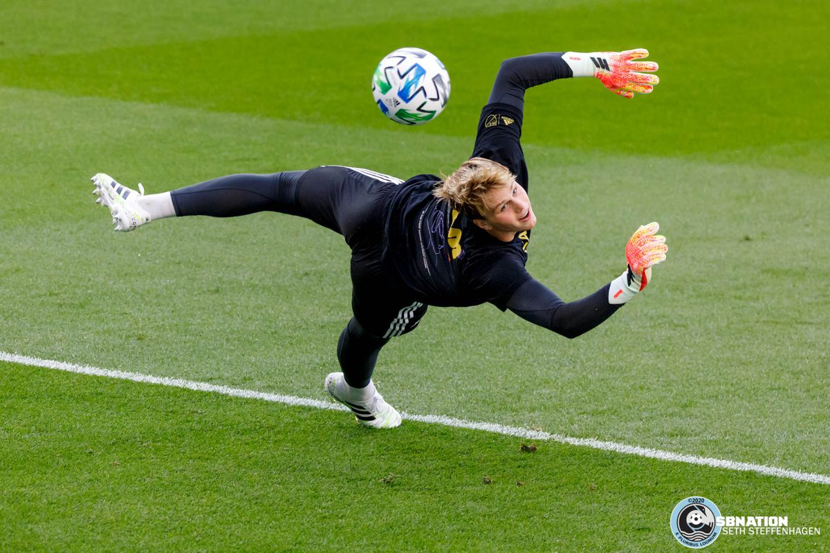 August 21, 2020 - Saint Paul, Minnesota, United States - Minnesota United goalkeeper Fred Emmings (99) tips the ball wide of the goal during pre-game warm ups before the Minnesota United vs Sporting KC match at Allianz Field.