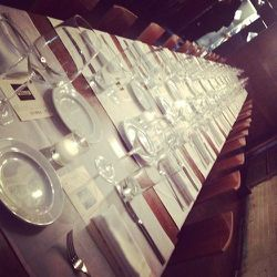 The glorious table at this press dinner is set to perfection.