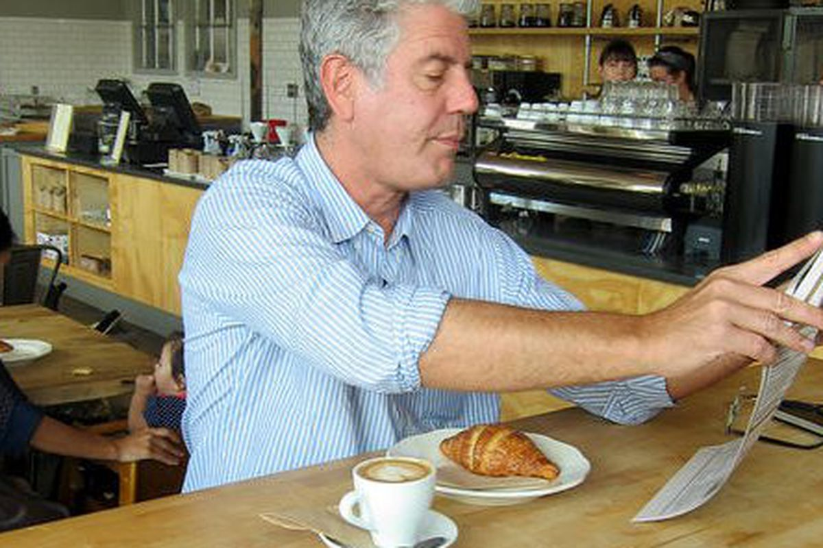 Anthony Bourdain at Octane Coffee & Little Tart Bakeshop.