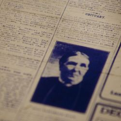 An obituary in the April 6, 1909, edition of the Deseret News is seen at the Family History Library in Salt Lake City, Utah on Tuesday, May 11, 2010. The library has hundreds of thousands of microfilm rolls of full editions of the Deseret News and obituaries from the Salt Lake Tribune, which many people use to trace their family history.