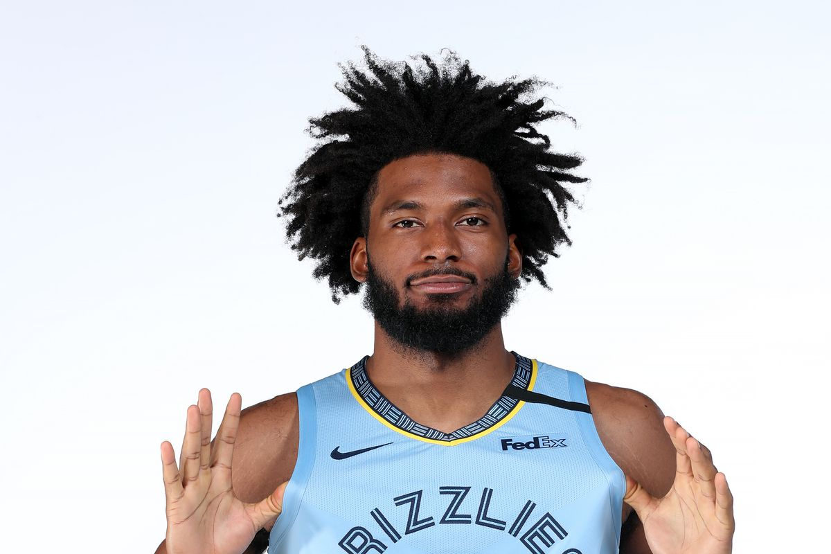 Justise Winslow of the Memphis Grizzlies poses for a portrait on February 11, 2020 at FedExForum in Memphis, Tennessee.