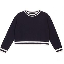 "Sandro varsity stripe cropped sweater, <a href=""http://us.sandro-paris.com/suede.html?___store=sandro"">$315</a>"
