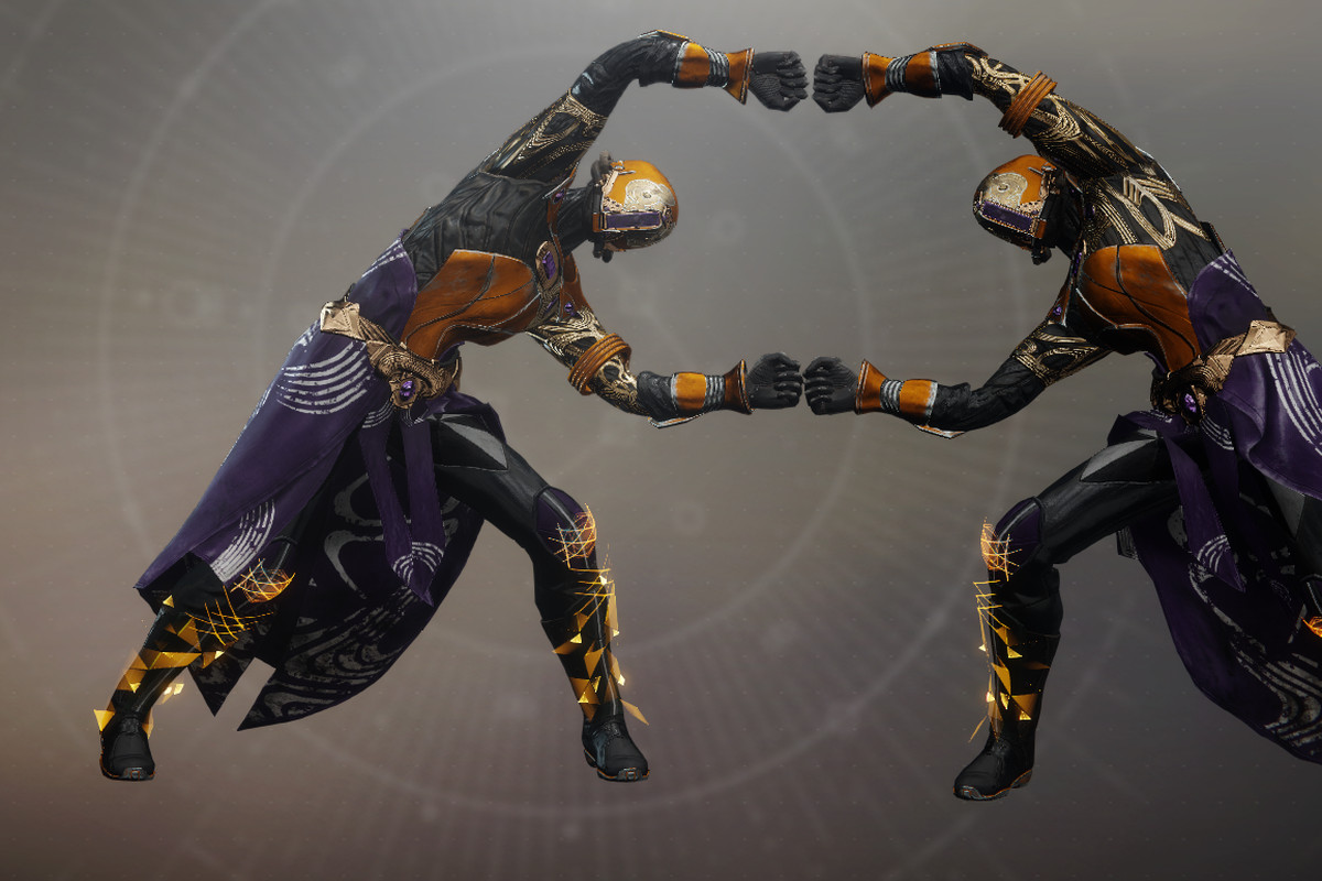 two Destiny characters doing a collaborative dance
