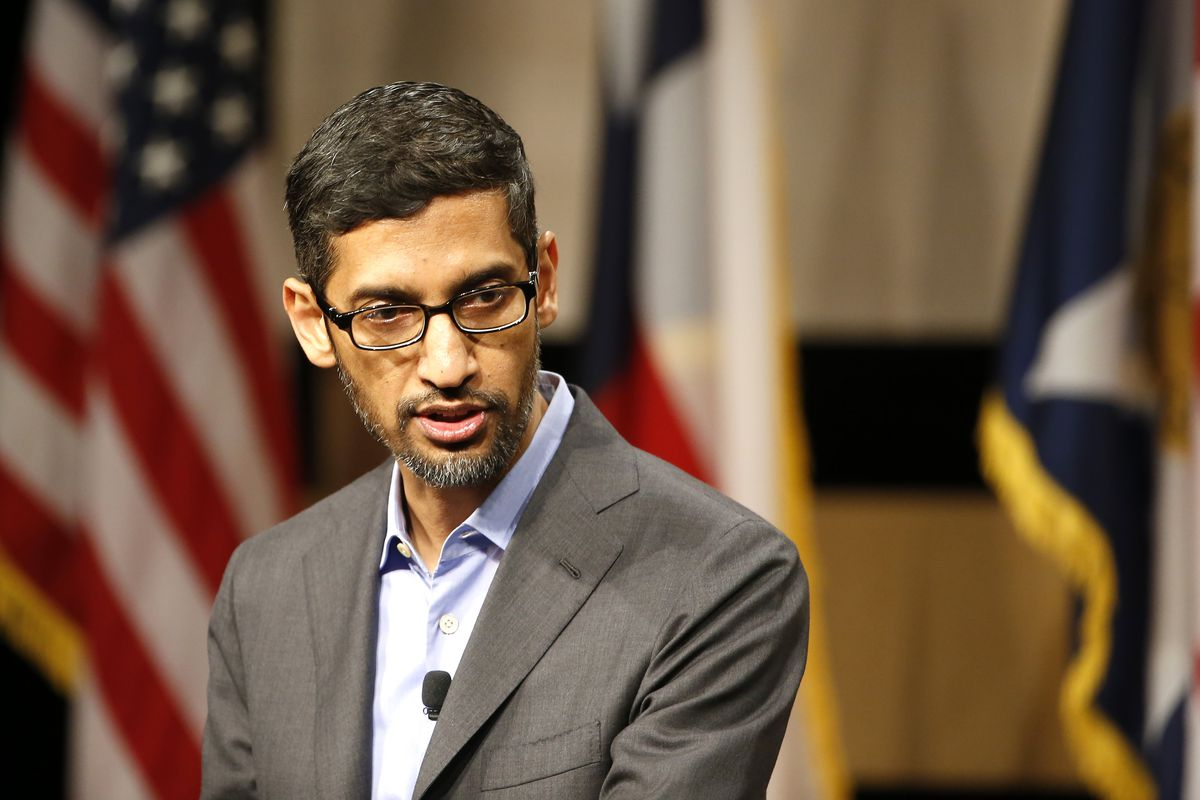 Google CEO Sundar Pichai speaks before signing the White Houses Pledge To America's Workers at El Centro Community College on October 3rd in Dallas