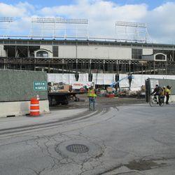 Dec 1: Wider view through open gate on Clark Street -
