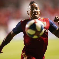 Real Salt Lake forward Joao Plata (10) tries to chase down the ball in the corner as RSL and Seattle Sounders play at Rio Tinto Stadium in Sandy Utah on Wednesday, Aug. 14, 2019. RSL won 3-0.