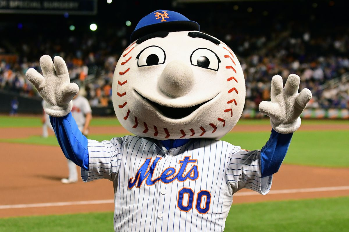 New York Mets mascot Mr Met riles up the crowd during a MLB game between the New York Mets and Atlanta Braves on September 26, 2017 at Citi Field in Flushing, NY.