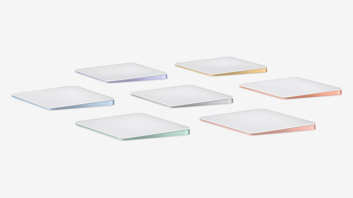 Apple's Magic Trackpad in seven colors.