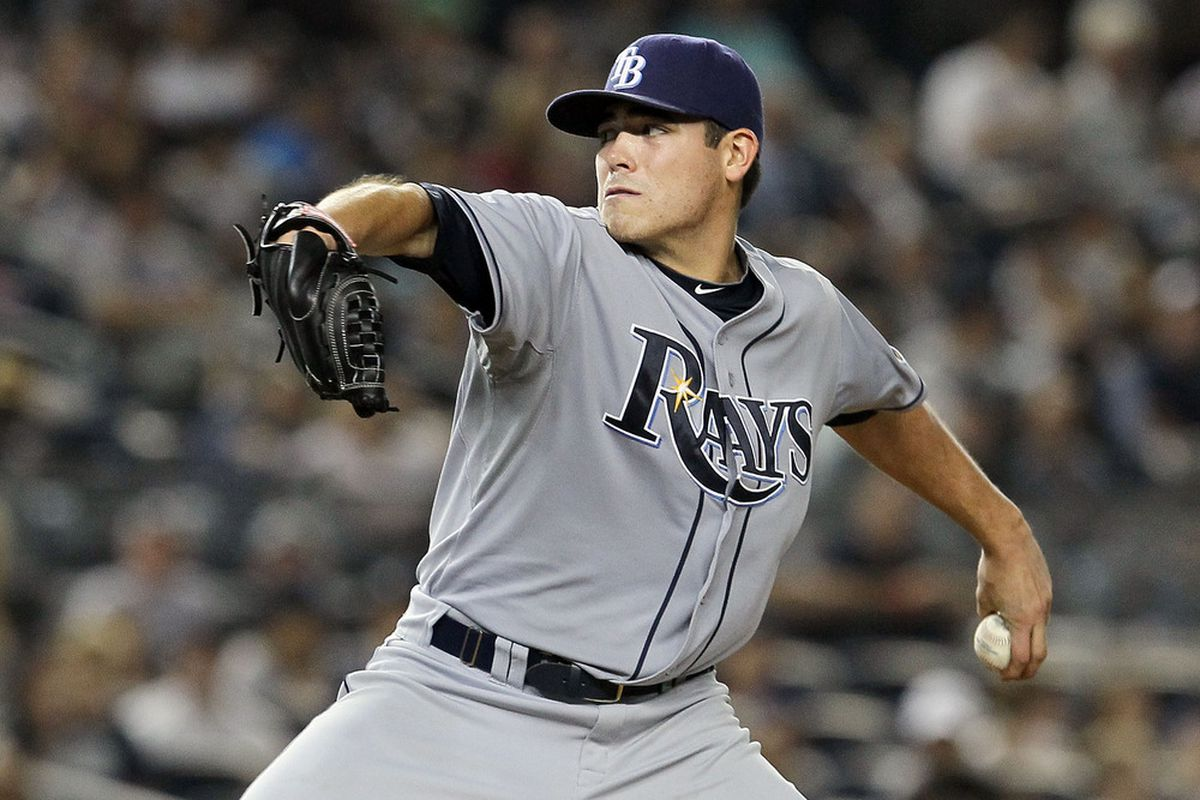 NEW YORK, NY - SEPTEMBER 22:  Matt Moore #55 of the Tampa Bay Rays pitches against the New York Yankees on September 22, 2011 at Yankee Stadium in the Bronx borough of New York City.  (Photo by Jim McIsaac/Getty Images)