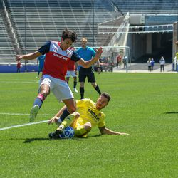 Johan Gomez (9) losing the ball during the opening match of the 40th Annual Dallas Cup.