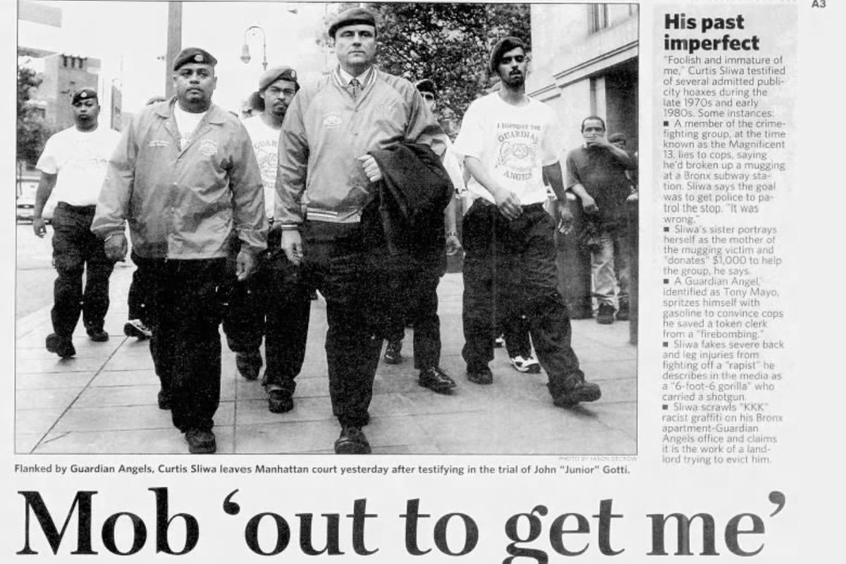 """August 2005: Sliwa begins testifying at the mob trial of John """"Junior"""" Gotti. """"The Mafia is America's No. 1 drug dealer — wherever you see someone putting a spike in his arm, you can thank John Gotti,"""" he said in a report by Newsday."""
