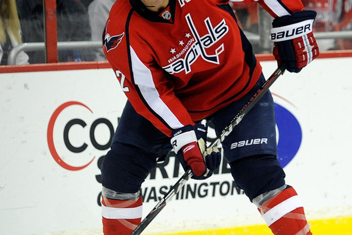 WASHINGTON, DC - OCTOBER 15:  Mike Knuble #22 of the Washington Capitals skates with the puck against the Ottawa Senators at Verizon Center on October 15, 2011 in Washington, DC.  (Photo by Patrick McDermott/Getty Images)