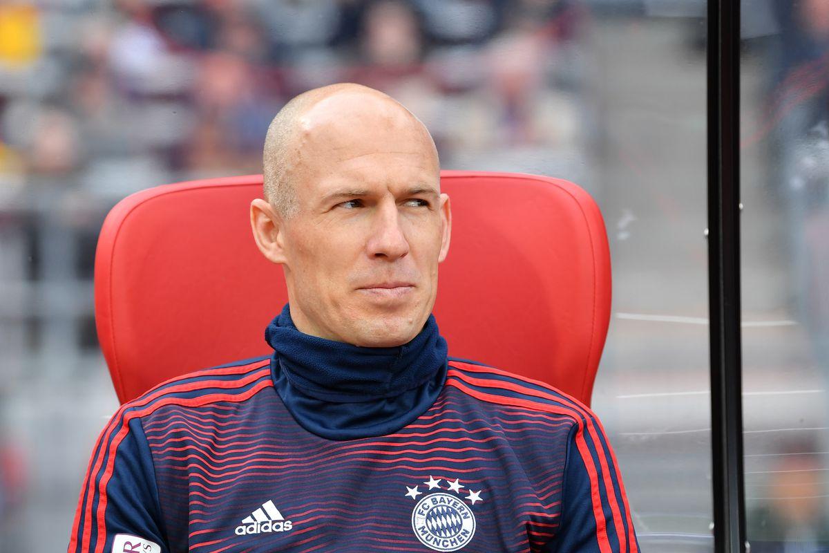 NUREMBERG, GERMANY - APRIL 28: Arjen Robben of Bayern Munich arrives for the Bundesliga match between 1. FC Nuernberg and FC Bayern Muenchen at Max-Morlock-Stadion on April 28, 2019 in Nuremberg, Germany.
