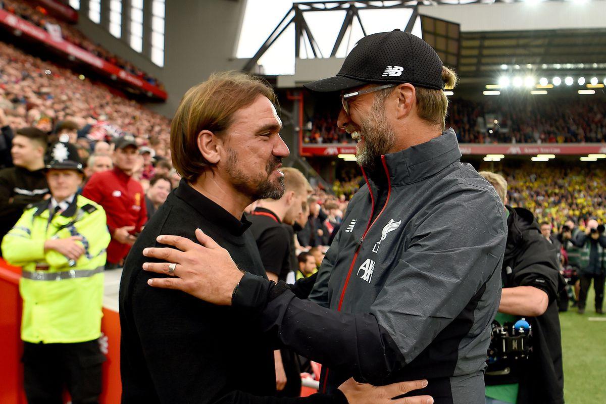 Jurgen Klopp Manager of Liverpool meets Norwich Manager Daniel Farke