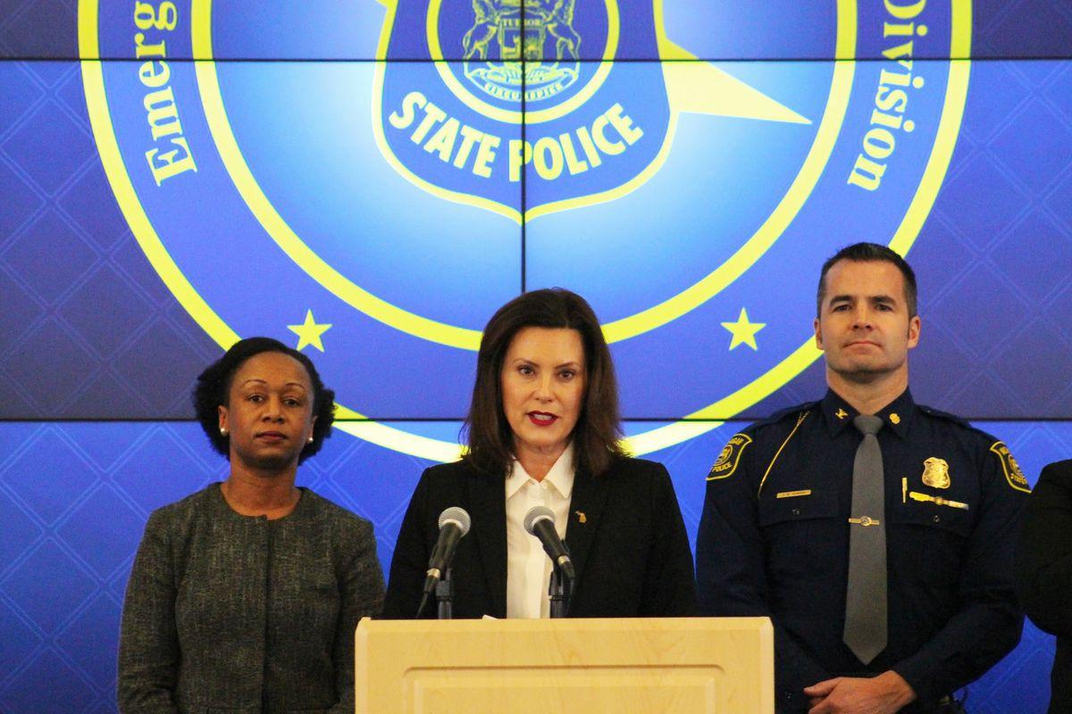 Michigan Gov. Gretchen Whitmer speaks Sunday during a press conference.