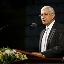 Elder Enrique R. Falabella, General Authority Seventy of The Church of Jesus Christ of Latter-day Saints, speaks during a Latin America Ministry Tour devotional in Quito, Ecuador on Monday, Aug. 26, 2019.
