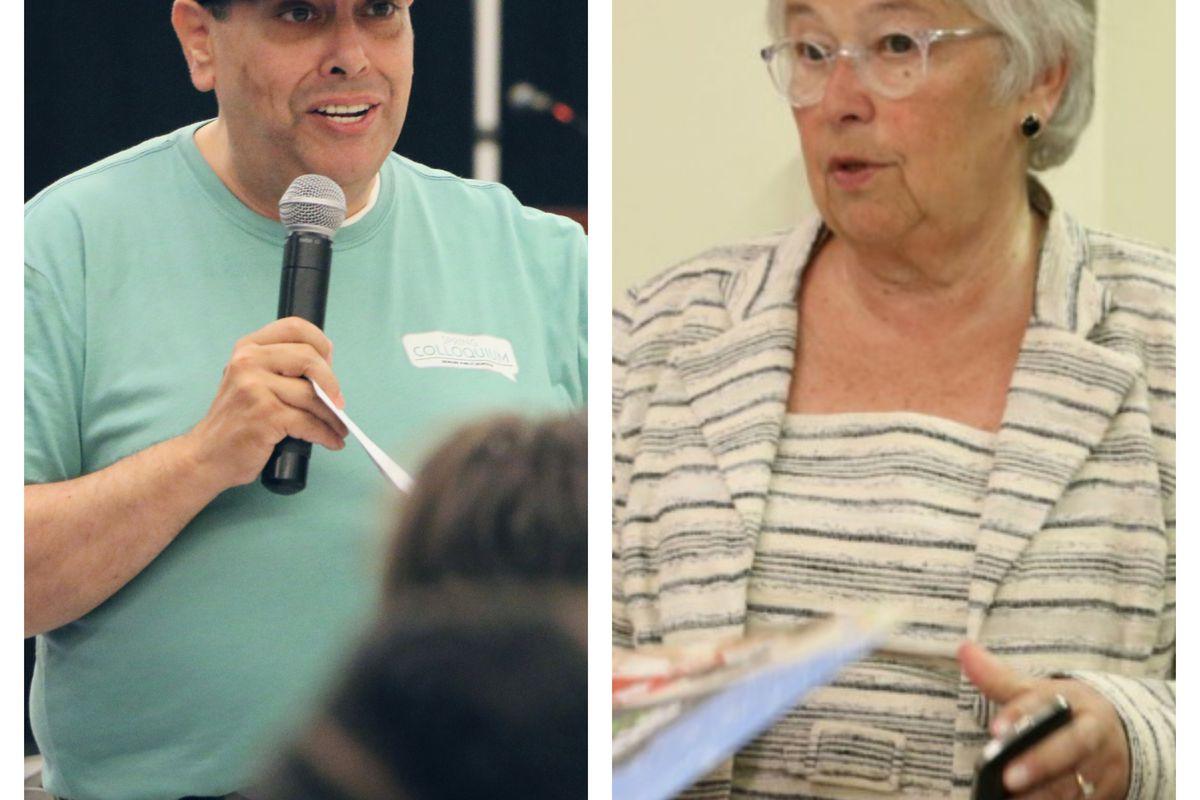Incoming Newark superintendent Roger León, and retired New York City chancellor Carmen Fariña.