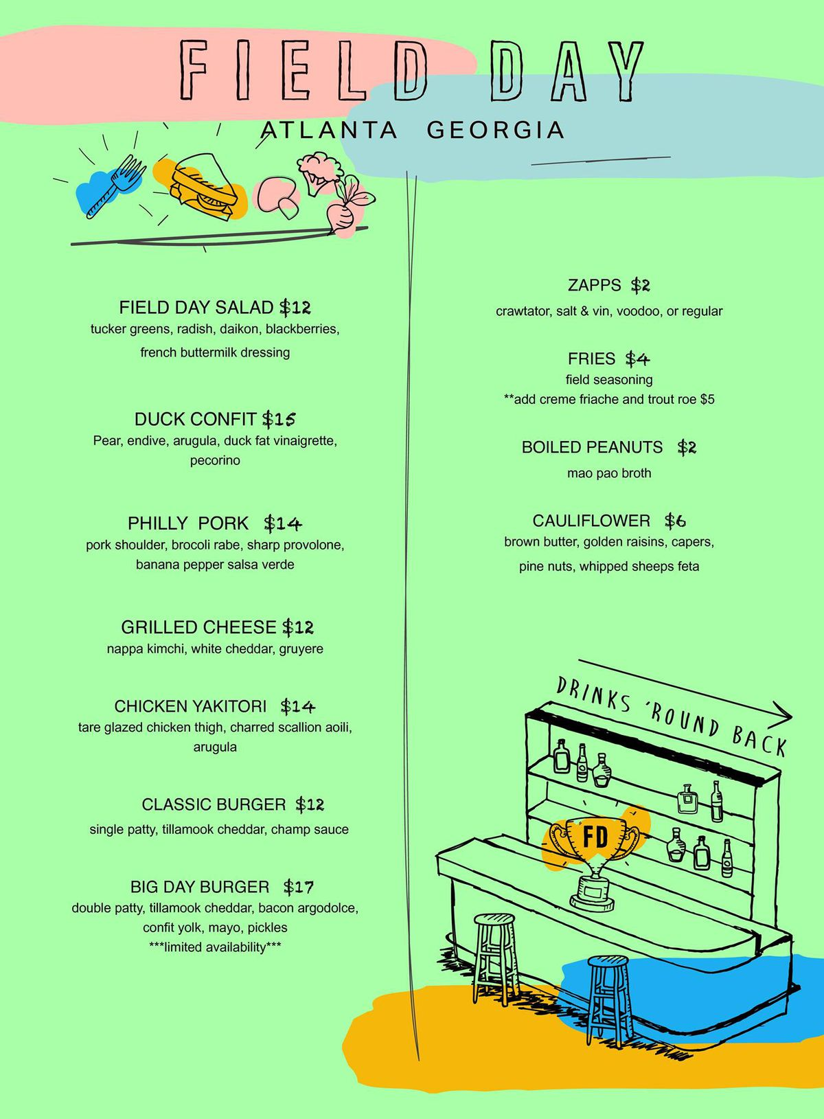 The Menu for Field Day Cafe in Old Fourth Ward, Atlanta