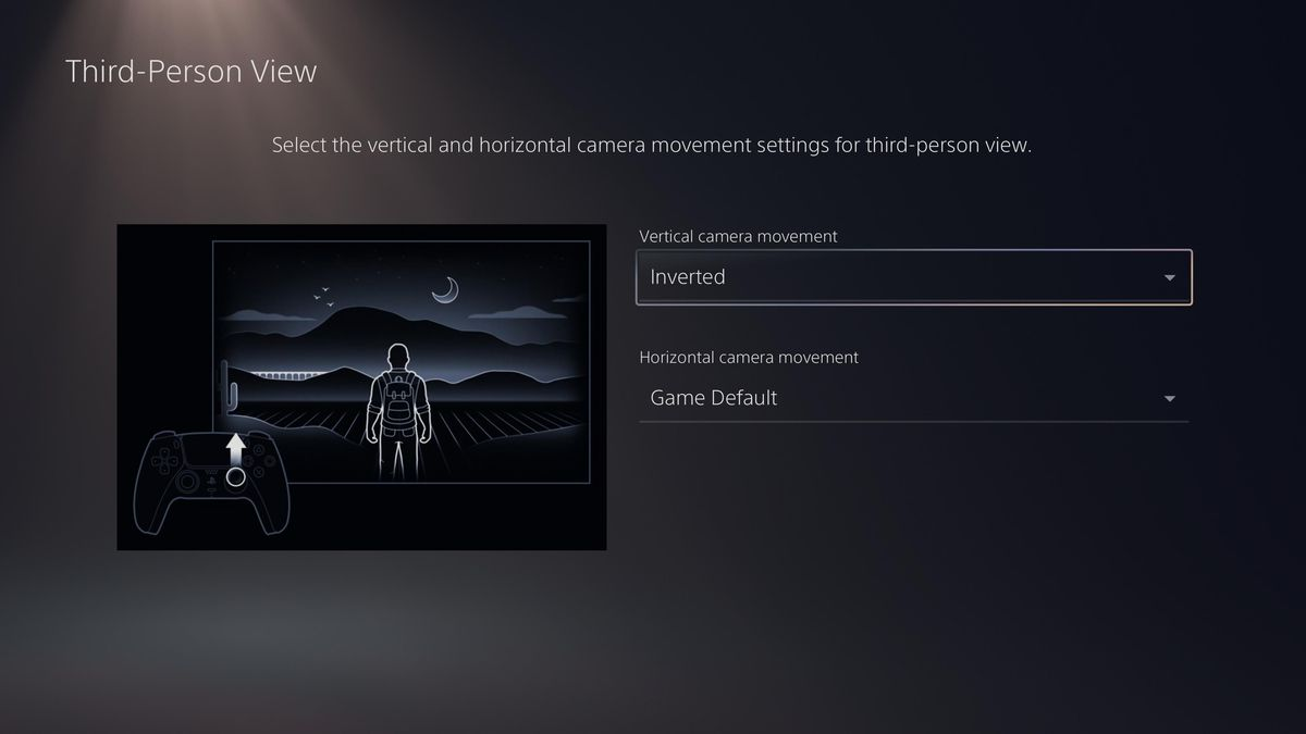 the PS5 setting to invert vertical and/or horizontal camera controls for third-person games