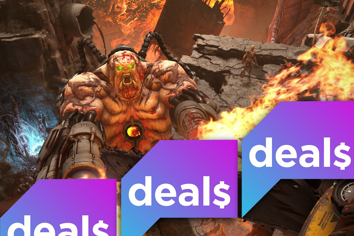 The Polygon Deals logo laid over a screenshot from Doom Eternal