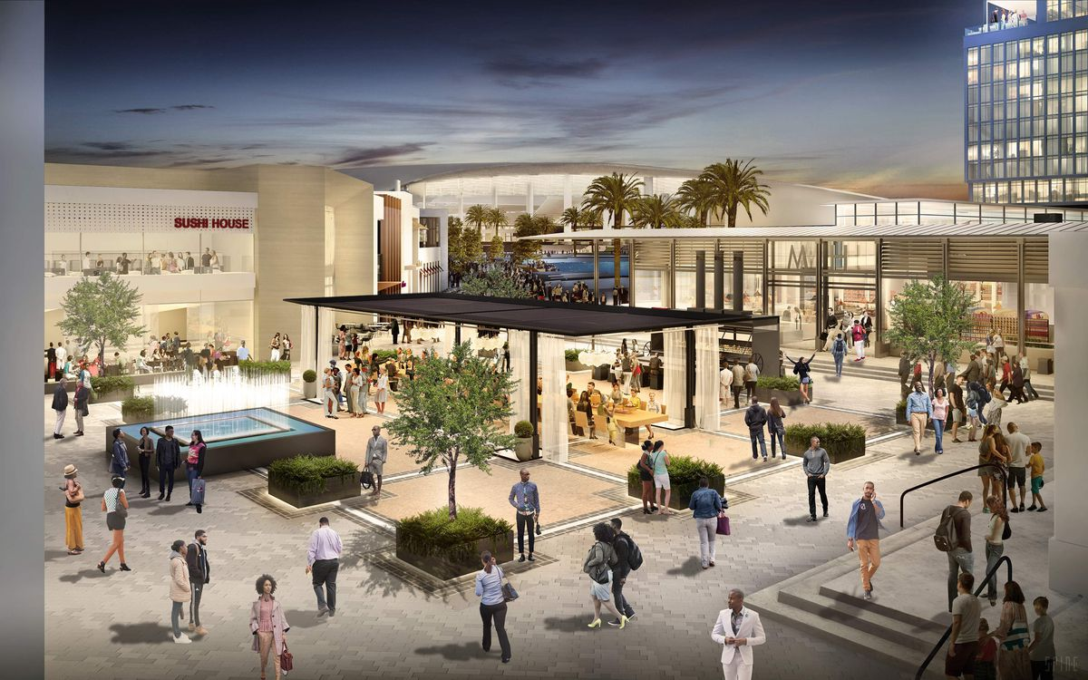 A rendering of an open courtyard space with a fountain, covered outdoor dining area, light landscaping and storefronts that open onto the courtyard.