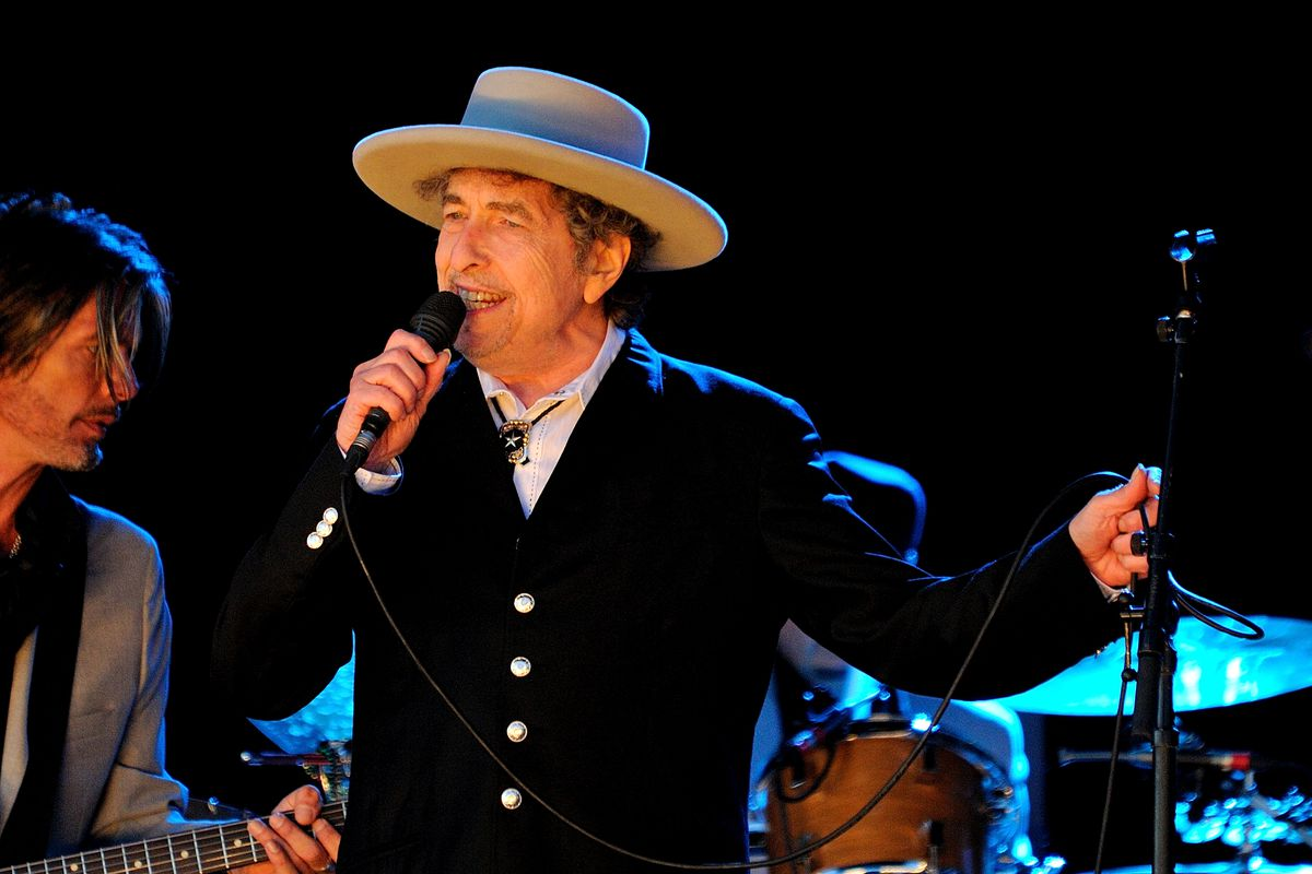 Bob Dylan performs in concert.